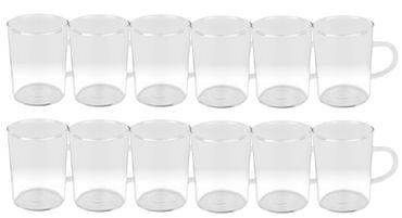 12er Set Teeglas Ceylon 220ml - klassische Teetasse aus hitzebeständigem Glas mit Henkel – Bild 1