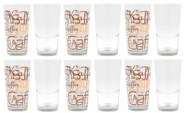 12er Set Mix Latte Macchiato Glas 39cl stapelbar mit Dekor / ohne Dekor – Bild 1