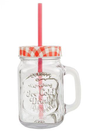 Glasbecher mit Henkel, Deckel und Trinkhalm inkl. Rezeptheft - rot kariert - 0,5 Liter Trinkbecher / Trinkglas mit Relief - für Säfte, Smoothies und andere Erfrischungsgetränke – Bild 2