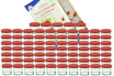 75er Set Sturzglas 125 ml Marmeladenglas Einmachglas Einweckglas To 66 Erdbeer Deckel incl. Diamant-Zucker Erdbeerzeit Rezeptheft – Bild 1