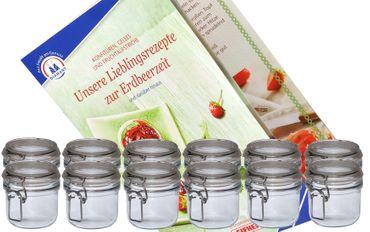 12er Set Einmachgläser Original Fido inkl. Erdbeer-Rezeptheft von Diamant-Zucker - 0,2L Einmachglas mit Bügelverschluss – Bild 1