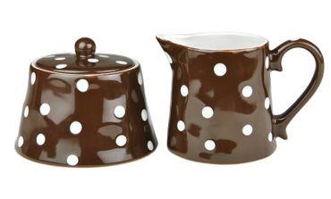 2tlg. Set Zuckerdose 45cl & Milchkännchen 37,5cl braun weiß gepunktet - handgefertigt - aus Steingut
