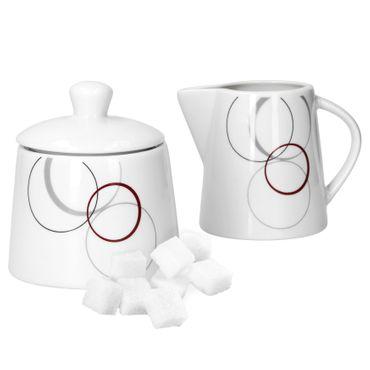 2tlg. Set Zuckerdose 28cl & Milchkännchen 23cl Palazzo mit Dekor-Kreisen in grau und dunkelrot – Bild 1