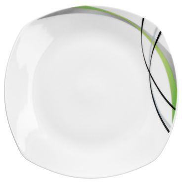 Frühstücksset Donna 12tlg. - 6 Teller á 19cm und 6 Becher á 33cl aus weißem Porzellan mit Linien- Dekor in schwarz, grau und grün - für 6 Personen – Bild 3