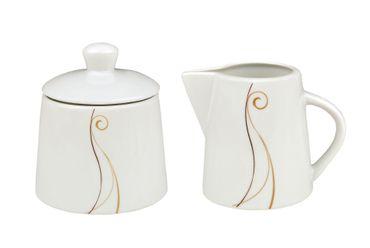 2tlg. Set Zuckerdose 28cl & Milchkännchen 23cl Granada - weißes Porzellan mit Linien- Dekor in beige und braun – Bild 1