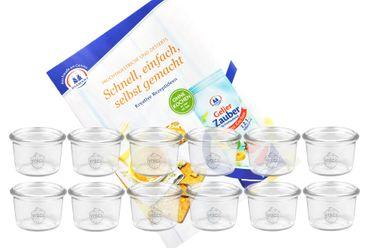 12er Set Weck Gläser 80ml Sturzgläser inkl. Gelierzauber Rezeptheft von Diamantzucker – Bild 1