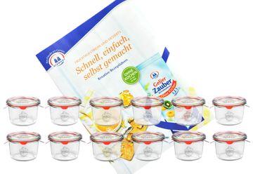 12er Set Weck Gläser 80ml Sturzgläser mit 12 Glasdeckeln, 12 Einkochringen und 24 Klammern inkl. Gelierzauber Rezeptheft von Diamantzucker – Bild 1