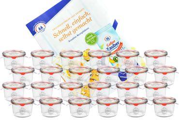 24er Set Weck Gläser 80ml Sturzgläser mit 24 Glasdeckeln, 24 Einkochringen und 48 Klammern inkl. Gelierzauber Rezeptheft von Diamantzucker – Bild 1