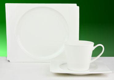 36tlg. Kaffeeservice Estelle für 12 Personen weiß rund und eckig zugleich – Bild 1
