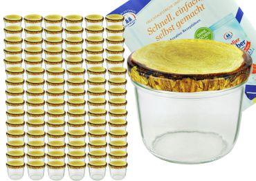 100er Set Sturzglas 230 ml Marmeladenglas Einmachglas Einweckglas To 82 Holzdekor Deckel incl. Diamant-Zucker Gelierzauber Rezeptheft – Bild 1