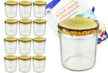 12er Set Sturzglas 350 ml Marmeladenglas Einmachglas Einweckglas To 82 Holzdekor Deckel incl. Diamant-Zucker Gelierzauber Rezeptheft – Bild 1