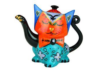 Design-Kanne in Katzenform (orange/blau/schwarz) - Jameson & Tailor 1849 + Teeprobe – Bild 2