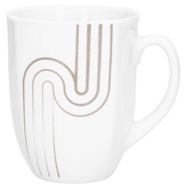 Kombiservice 62tlg. Costa leicht eckig Porzellan für 6 Personen weiß mit grauem Dekor – Bild 7