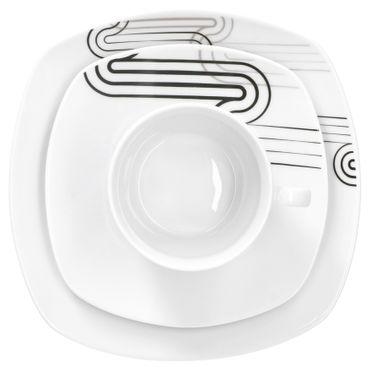 Kombiservice 30-tlg. Costa leicht eckig Porzellan für 6 Personen weiß mit grauem Dekor – Bild 5