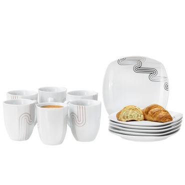 Frühstücksset 12-tlg. Costa leicht eckig Porzellan für 6 Personen weiß mit grauem Dekor – Bild 1