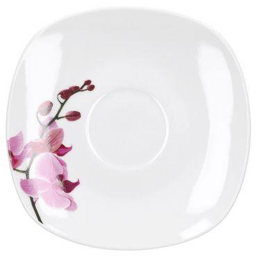 Kombiservice 62tlg. Kyoto Orchidee leicht eckig Porzellan für 6 Personen weiß mit Dekor – Bild 11