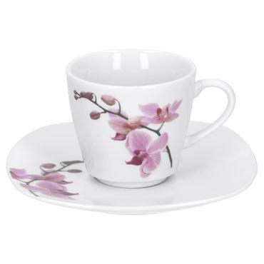 Kombiservice 124tlg. Kyoto Orchidee leicht eckig Porzellan für 12 Personen weiß mit Dekor – Bild 13