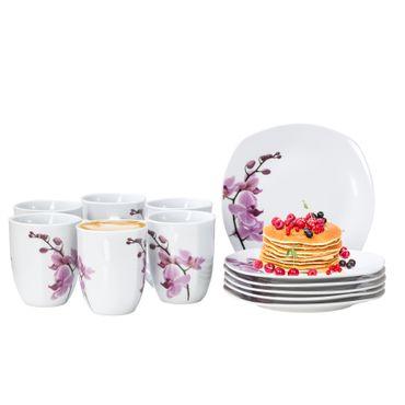 Frühstücksset 12-tlg. Kyoto Orchidee leicht eckig Porzellan für 6 Personen weiß mit Dekor – Bild 1