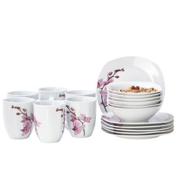 Frühstücksset 18-tlg. Kyoto Orchidee leicht eckig Porzellan für 6 Personen weiß mit Dekor – Bild 1