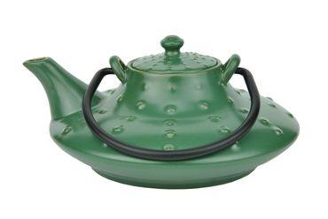 Japanische Teekanne Keramik Honshu mit Metallhenkel 0,7l dunkelgrün - Jameson & Tailor 3530 + Teeprobe – Bild 2