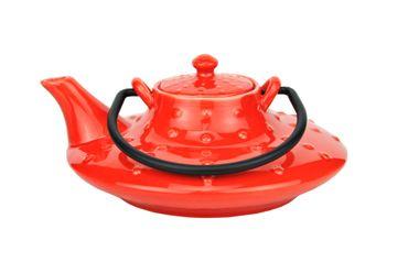 Japanische Teekanne Keramik Honshu mit Metallhenkel 0,7l rot - Jameson & Tailor 3550 + Teeprobe – Bild 2