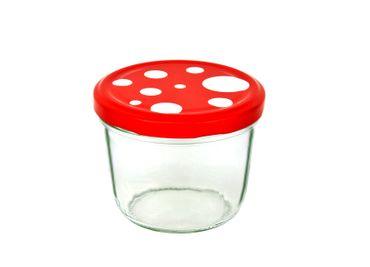 25er Set Sturzglas 230 ml To 82 Fliegenpilz Deckel rot weiß gepunktet incl. Diamant Gelierzauber Rezeptheft – Bild 2