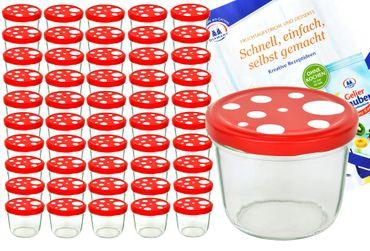 50er Set Sturzglas 230 ml To 82 Fliegenpilz Deckel rot weiß gepunktet incl. Diamant Gelierzauber Rezeptheft – Bild 1