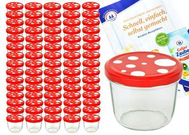 75er Set Sturzglas 230 ml To 82 Fliegenpilz Deckel rot weiß gepunktet incl. Diamant Gelierzauber Rezeptheft – Bild 1