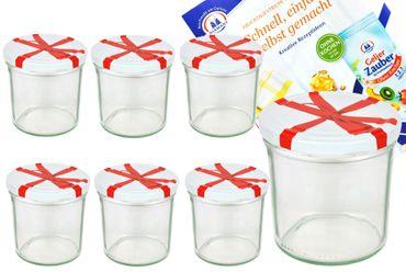 6er Set Sturzglas 350 ml To 82 Schleifendekor Deckel incl. Diamant Gelierzauber Rezeptheft – Bild 1