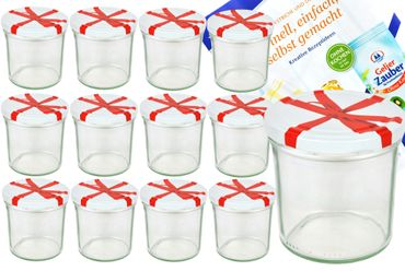 12er Set Sturzglas 350 ml To 82 Schleifendekor Deckel incl. Diamant Gelierzauber Rezeptheft – Bild 1