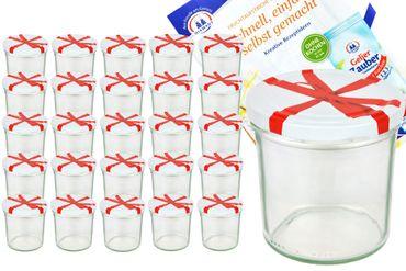 25er Set Sturzglas 350 ml To 82 Schleifendekor Deckel incl. Diamant Gelierzauber Rezeptheft – Bild 1