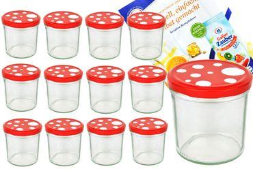 12er Set Sturzglas 350 ml To 82 Fliegenpilz Deckel rot weiß gepunktet incl. Diamant Gelierzauber Rezeptheft – Bild 1