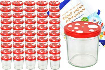 50er Set Sturzglas 350 ml To 82 Fliegenpilz Deckel rot weiß gepunktet incl. Diamant Gelierzauber Rezeptheft – Bild 1