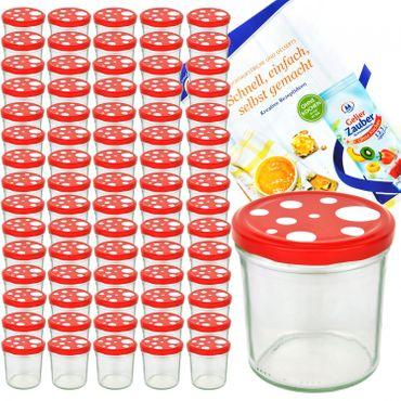 75er Set Sturzglas 350 ml To 82 Fliegenpilz Deckel rot weiß gepunktet incl. Diamant Gelierzauber Rezeptheft – Bild 1