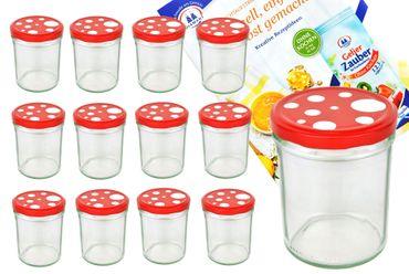 12er Set Sturzglas 435 ml To 82 Fliegenpilz Deckel rot weiß gepunktet incl. Diamant Gelierzauber Rezeptheft – Bild 1