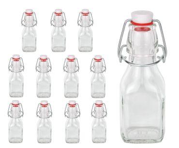 12er Set Glasflaschen Serie Swing mit Bügelverschluss 125ml – Bild 1
