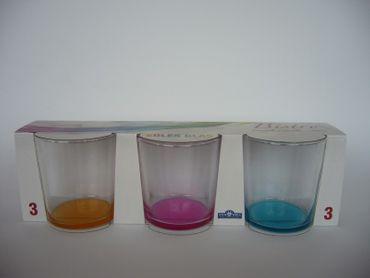 3er Set Longdrinkgläser Bistro 380ml in 3 veschiedenen Farben – Bild 1