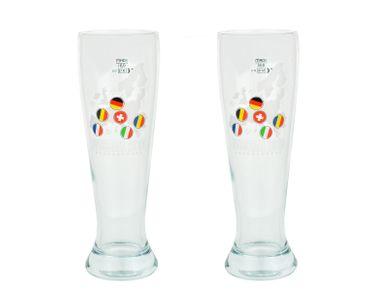 2er Set Weizen- / Weißbierglas 0,5 l mit Füllstrich und EM 2016 Verzierung - perfekt für die diesjährige Europameisterschaft – Bild 1