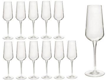 12er Set Sektgläser inAlto 28 cl Champagnergläser aus erstklassigem Kristallglas, bessere Bruchfestigkeit, filigranes Design – Bild 1