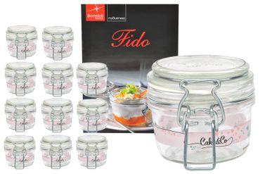 12er Set Einmachglas Bügelverschluss Fido 0,125L Cake&Co rosa incl. Bormioli Rezeptheft – Bild 1