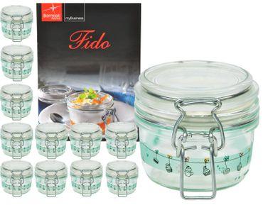12er Set Einmachglas Bügelverschluss Fido 0,125L Cake&Co grün incl. Bormioli Rezeptheft – Bild 1