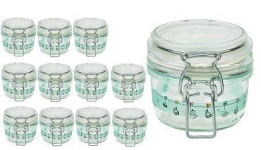12er Set Einmachglas Bügelverschluss Fido 0,125L Cake&Co grün incl. Bormioli Rezeptheft – Bild 2