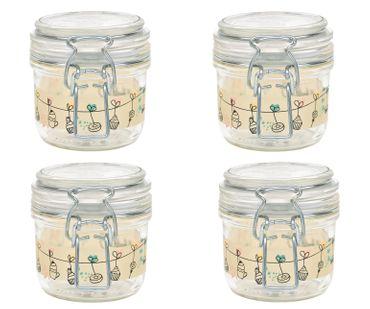 4er Set Einmachglas Bügelverschluss Fido 0,2L Cake&Co gelb incl. Bormioli Rezeptheft – Bild 2