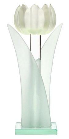 Teelichthalter Tulpe aus Glas 19cm