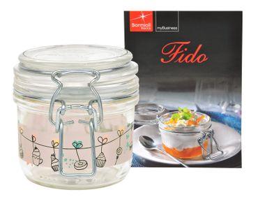 Einmachglas Bügelverschluss Fido 0,2L Cake&Co rosa incl. Bormioli Rezeptheft – Bild 1