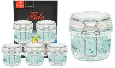6er Set Einmachglas Bügelverschluss Fido 0,2L Cake&Co grün incl. Bormioli Rezeptheft – Bild 1