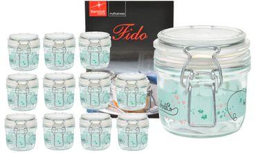 12er Set Einmachglas Bügelverschluss Fido 0,2L Cake&Co grün incl. Bormioli Rezeptheft – Bild 1