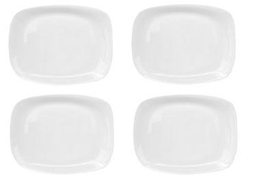 4er Set Platte Parma rechteckig 34x24cm zum Anrichten aus weißem Opalglas – Bild 1