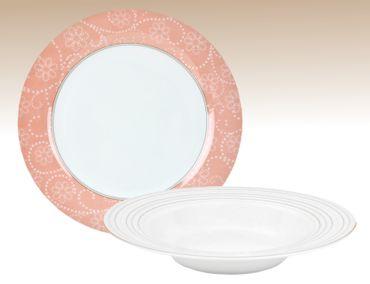 Tafelservice 24tlg. Ambiente Porzellan weiß mit Blumen- und Rankenmuster für 12 Personen – Bild 1