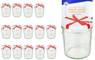 15er Set Sturzglas 350 ml To 82 Schleifendekor Deckel incl. Diamant Gelierzauber Rezeptheft – Bild 1
